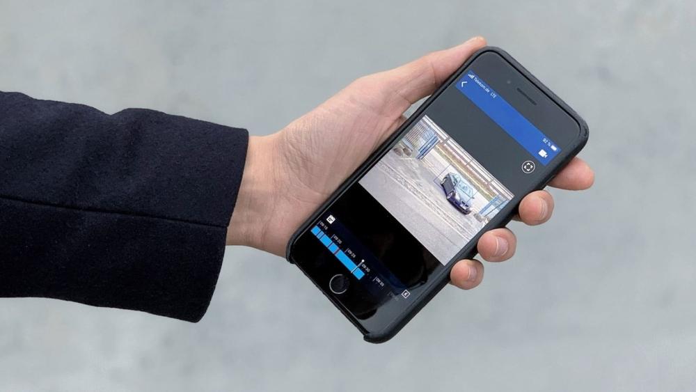Das Bild zeigt die mobile Videoüberwachung auf dem Smartphone