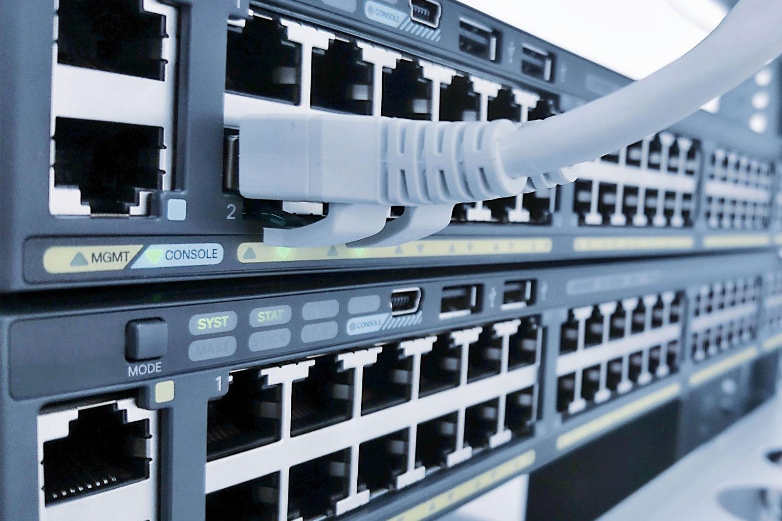 Das Bild zeigt einen Netzwerkswitch