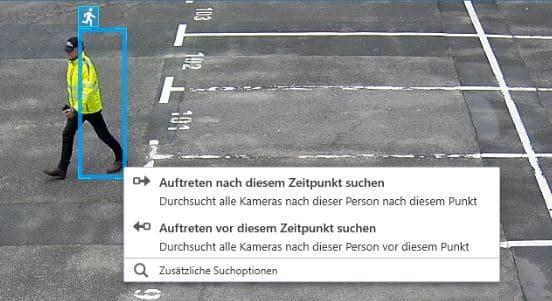 Das Bild zeigt die Suchmöglichkeiten in der Videoüberwachung