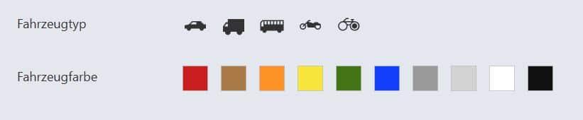 Nach Fahrzeugfarbe in Videoüberwachung suchen, Farben