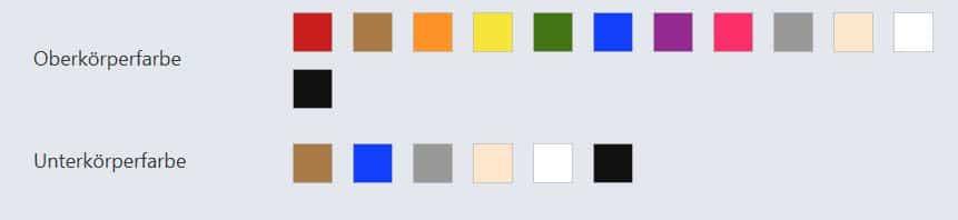 Farbkombinationen mithilfe von Videoüberwachung suchen, Farben